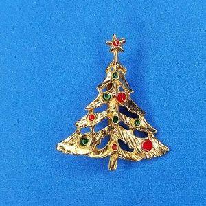 Vintage Christmas tree pin Brooch Gold Tone BL